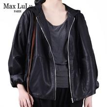 Max LuLu Autumn European Womens Black Faux Leather Jacket Ladies Punk Casual Pu Biker Coat Loose Motorcycle Clothing Plus Size