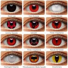 2 pcs/par cosplay anime olhos lentes naruto sharingan lentes de contato para olhos uchiha sasuke hatake kakashi lentes coloridas para o olho