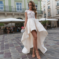 Eightree Sexy Short Wedding Dress Boho Gothic Lace Wedding Gown Appliques Bridal Dress vestido de noiva Backless Bride Gown