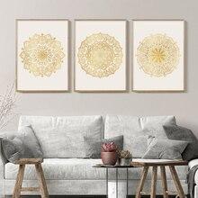 Современный постер Мандала с цветами и золотом Холст Картина настенный художественный постер для гостиной дзен, йога домашний интерьер Дек...
