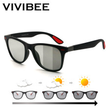 VIVIBEE Classic Photocromic Polarized sunglasses Men Driving Square Color Change Matte Sun Glasses Women Transition Shades