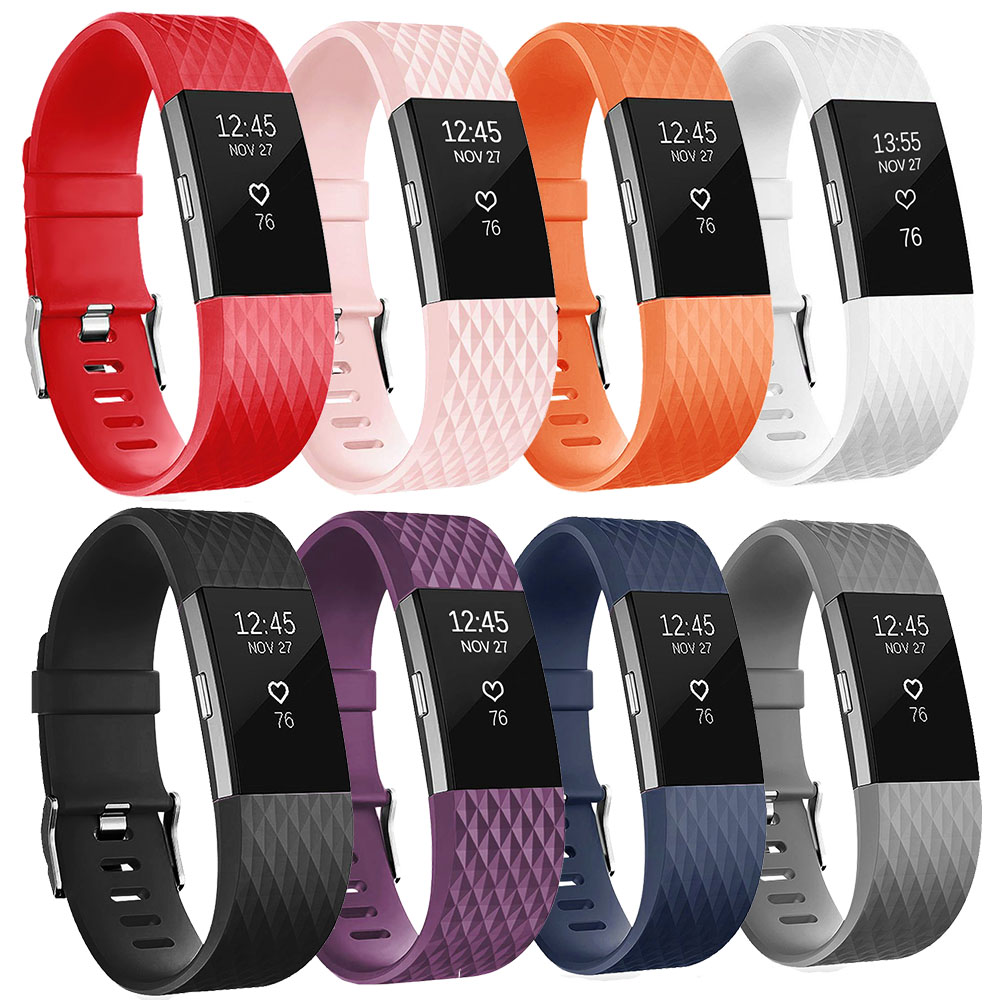 Bracelet Strap Smartwatch Wrist-Band Fit-Bit Charge Small Soft-Silicone for 2 title=