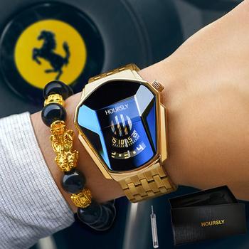 HOURSLY męskie zegarki na rękę 2021 dla mężczyzn zegar kreatywny zegarek mężczyźni Top marka luksusowe ze stali nierdzewnej kwarcowy zegarek relogio masculino tanie i dobre opinie MIXZA 24cm Moda casual QUARTZ NONE 3Bar Zapięcie bransolety CN (pochodzenie) STOP 12mm Hardlex Kwarcowe zegarki Papier