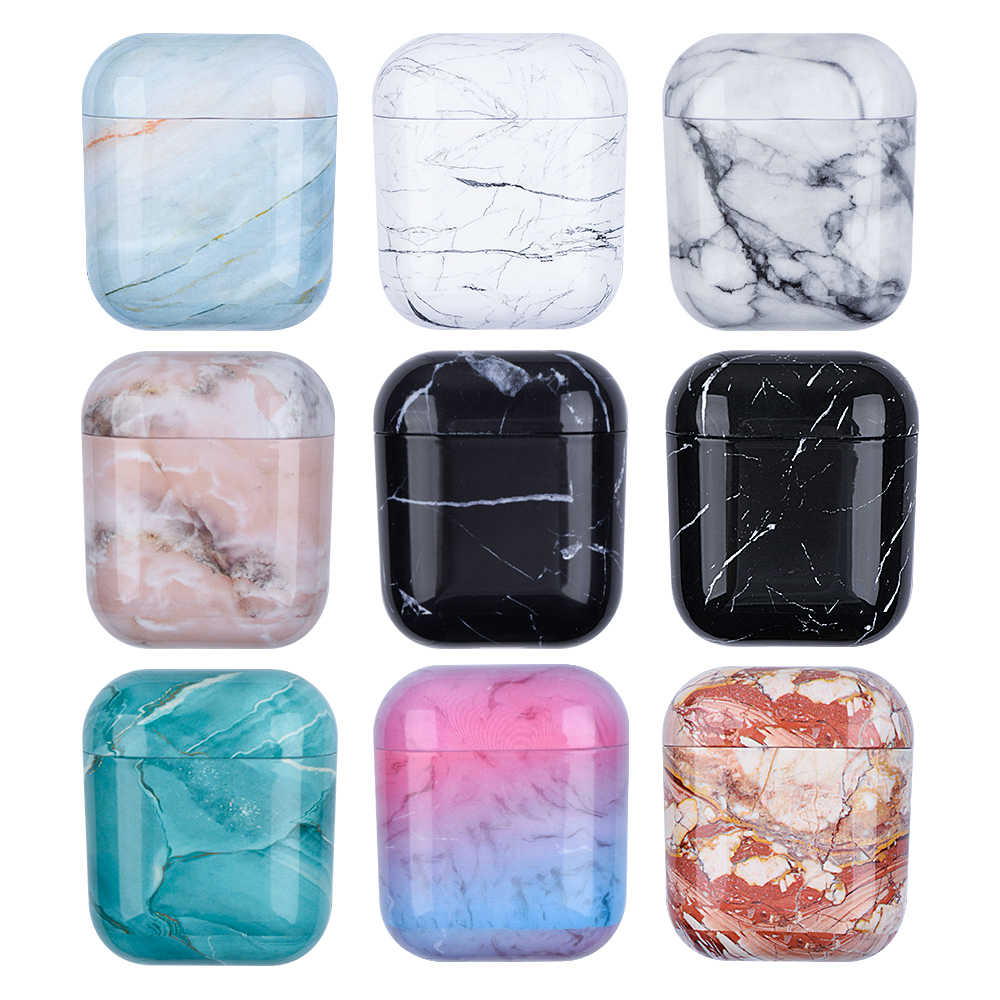 Fundas con patrón de mármol para Airpods originales de Apple 1 2 funda para auriculares funda bonita para Airpods de Apple 2 Air Pods 1 funda