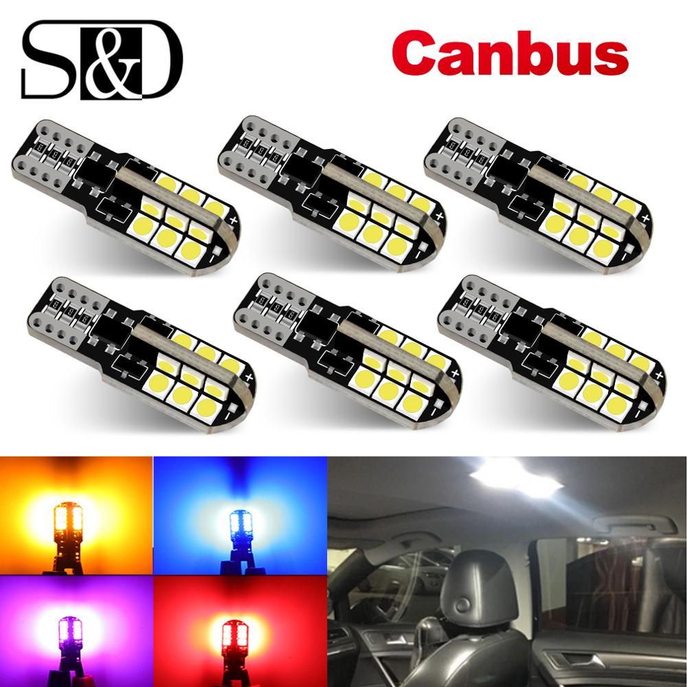6Pcs W5W T10 Led Canbus 168 194 LED Bulb 24 SMD Car Side Marker Light License Plate Lamp White Blue Yellow Red Pink 12V 6000K