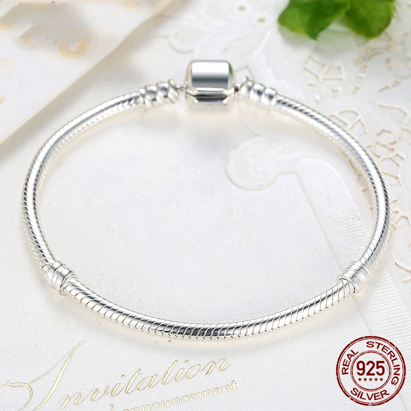 Luxury Original 925 Sterling Silver Fit <font><b>Pans</b></font> Snake Chain <font><b>Bracelet</b></font> Bangle For Women Authentic <font><b>Charm</b></font> <font><b>Pan</b></font> <font><b>Bracelets</b></font> Jewelry Gift image