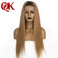 QueenKing hair Ombre 1B 27 natural color roots bleached knots full lace wig remy hair 150% density
