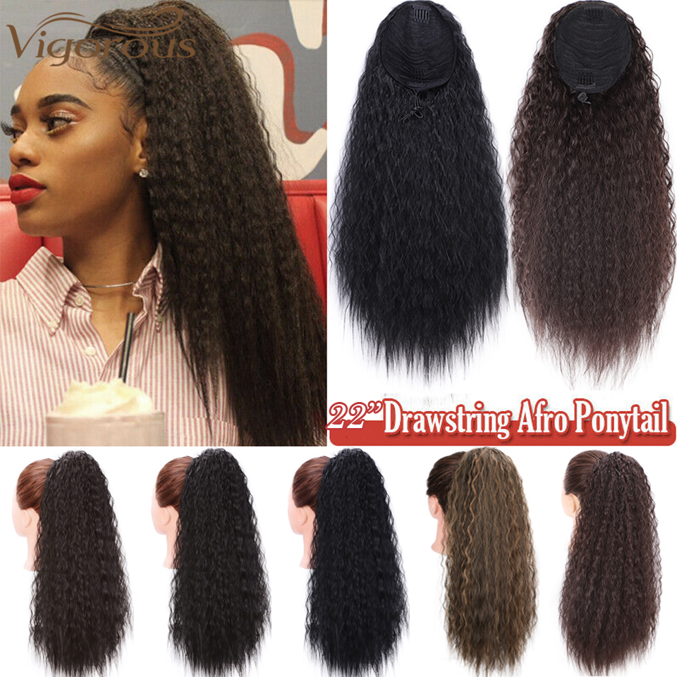 Vigorous Long Kinky Curly Drawstring Ponytail For Black Women 22 Inch Synthetic Clip In Natural Ponytail Extension