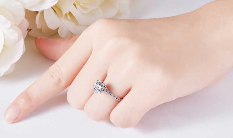 YANHUI di Lusso 2.0ct Lab Cerimonia Nuziale di Diamante Anelli di Fidanzamento per la Sposa 100% Reale 925 Anelli In Argento Sterling Donne Gioielleria Raffinata RX279