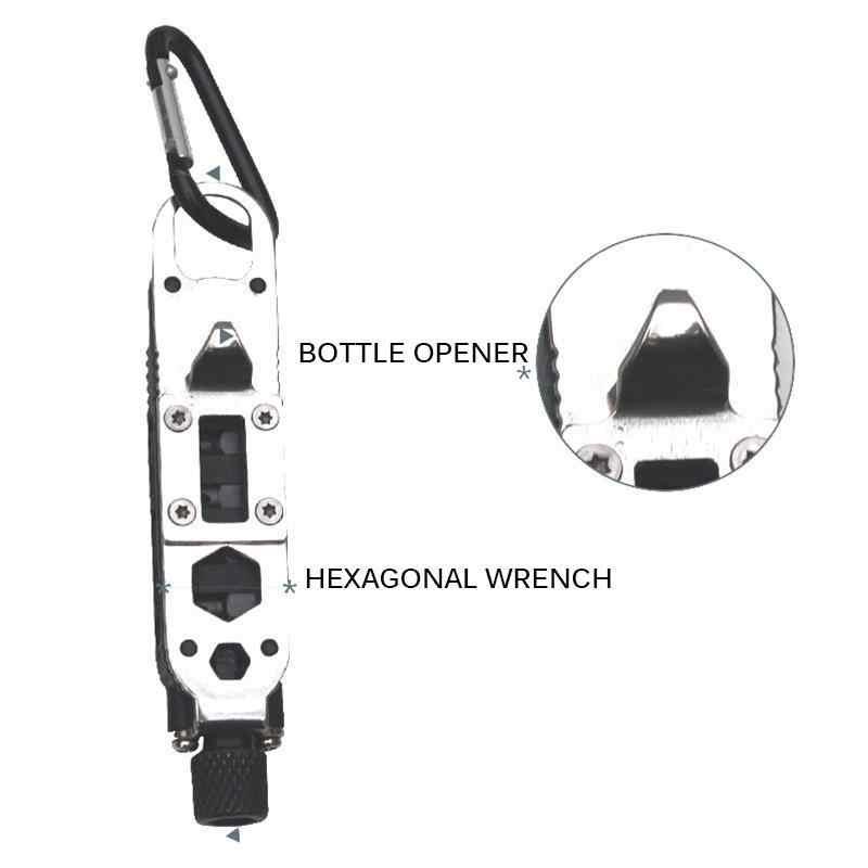 Mini Di Động Đa Năng Vặn Vít Bỏ Túi Thép Không Gỉ Móc Khóa Dụng Cụ Cắm Trại Du Lịch EDC Sinh Tồn Thiết Bị