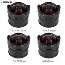 7 אומנים 7.5mm f2.8 fisheye עדשה קבועה פוקוס Lens180 APS C ידני קבוע ראש עדשה עבור Canon EOS M/פוג י FX/ M4/3