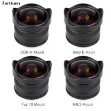 7 artesãos 7.5mm f2.8 lente olho de peixe foco fixo lens180 APS C manual fixo lente prime para canon EOS M/fuji fx/m4/3
