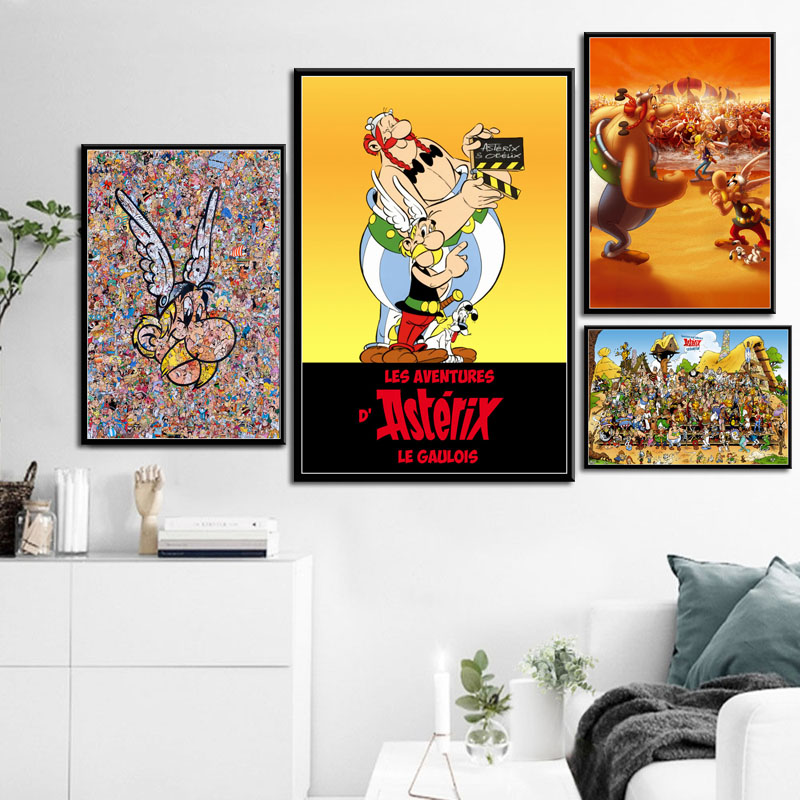 Asterix France Classic Comic Art Painting Silk Canvas Poster Wall Home Decor