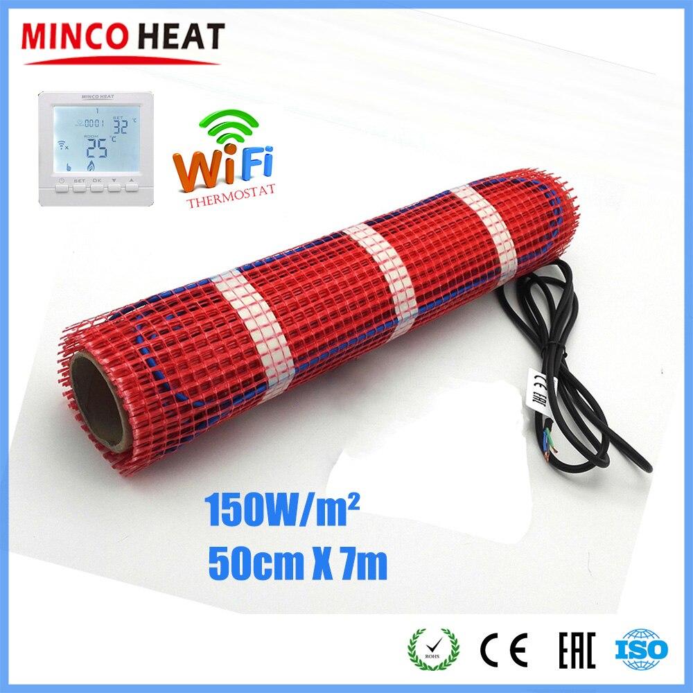 Minco di Calore 7 M X 50 Centimetri 150 Watt per Metro Quadrato di Riscaldamento a Pavimento Zerbino per Vialetto di Fusione Della Neve, casa di Riscaldamento a Pavimento 230V