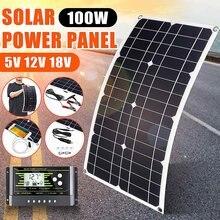 Novo 100w painel solar usb 5v dc 12v com 10/20/30a controlador flexível células solares para carregador de bateria iate carro à prova dwaterproof água