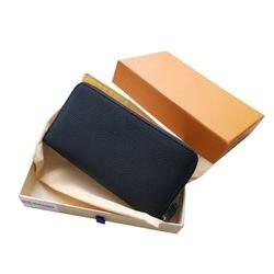 100% Cartera de piel auténtica para mujer, cartera con cremallera de alta calidad con caja de embalaje exquisita, bolso de marca de diseñador Senior 60017