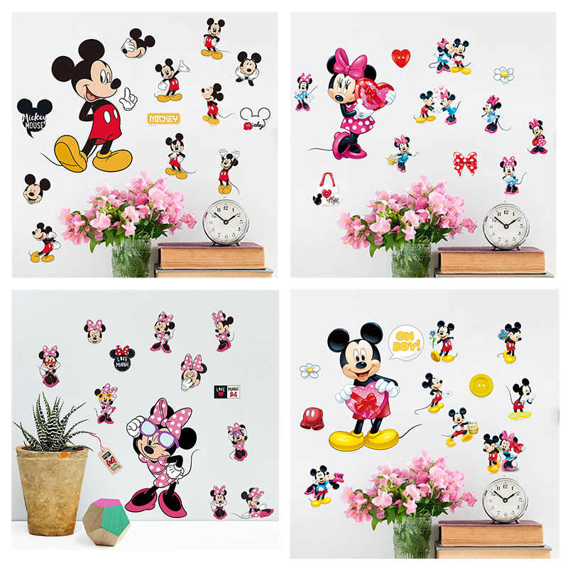 Disney Mickey Minnie Mouse Wall Stickers For Kindergarten Kids Bedroom Acessories Home Decor Anime Wall Mural Art PVC DIY Decals