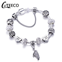CUTEECO White Angel Wings Pendant Charm Bracelet Flowers And Love Heart Beads Brand Bracelets For DIY Making Women Jewelry Gifts