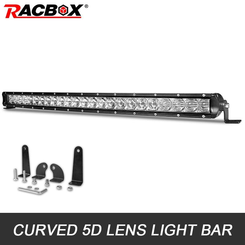 51inch 250W CREE LED Spot Slim Single Row Light Bar Jeep Driving Lamp 4D Lens