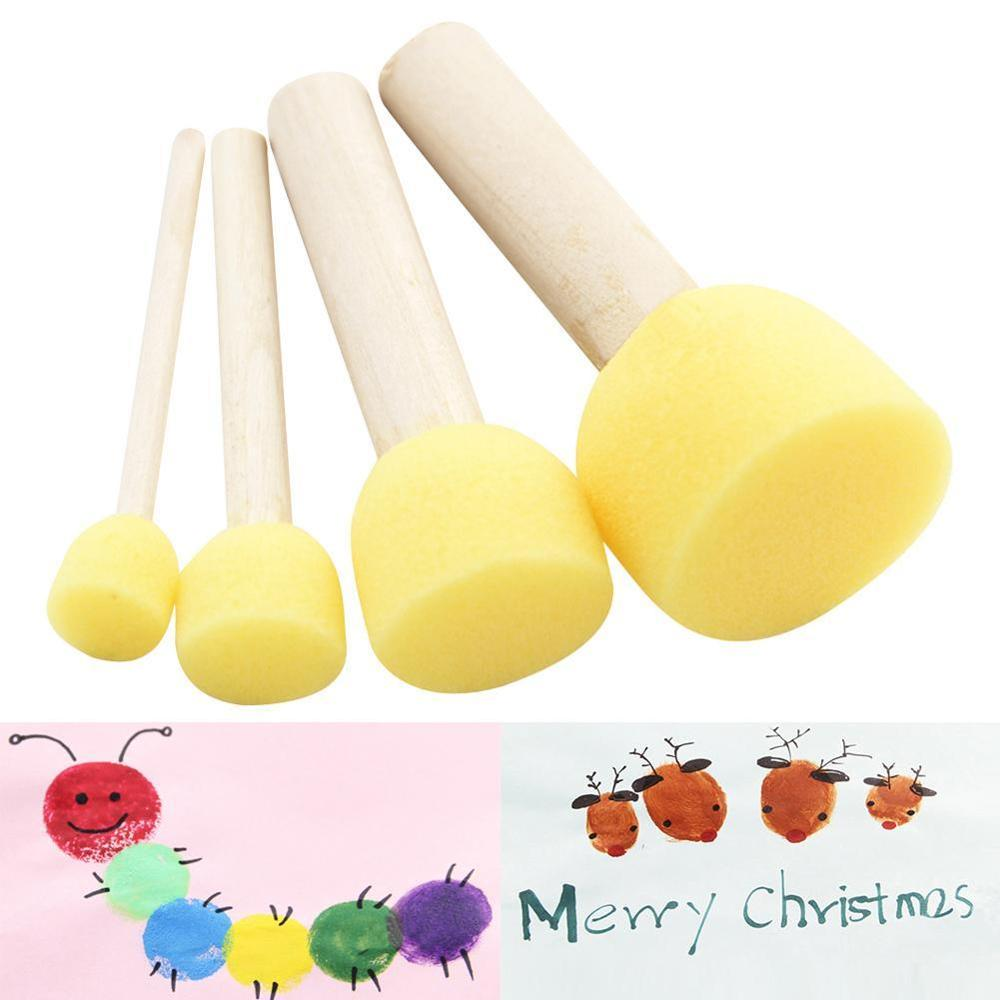 4pc/lot Coloring Pages Children Yellow Sponge Graffiti Paint Doodle Brush Wooden Handle Tool DIY Toy