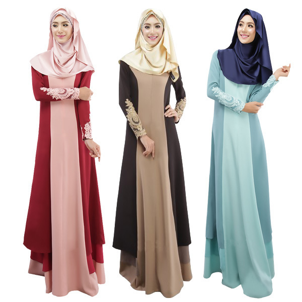 2019 Middle East Muslim WOMEN'S Dress Hot Sales Dress Large Size Long Skirts Mixed Colors Robes Lace Splicing Dress
