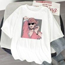 Camiseta de verão japonês anime yarichin b clube estética mulher tshirts kawaii manga curta feminino topos tees harajuku streetwear