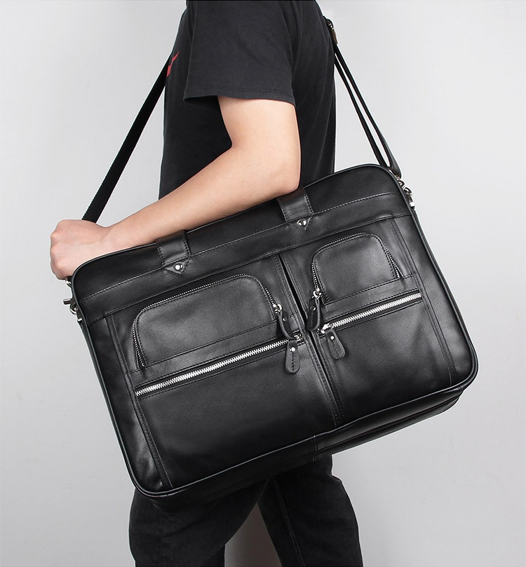 Luufan Black Mens Business Hand Bag Large Capacity 17 Inch PC Computer Bag Genuine Leather Office Man Briefcase On Shoulder