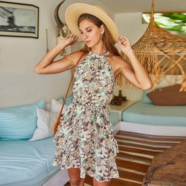 Nouvelle mode imprimé fleuri Boho robe a-ligne licou sans manches volants couche au-dessus du genou femmes robe décontracté robe dété 2020