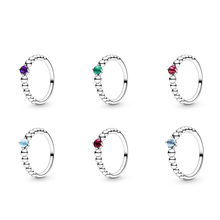 Authentic 925 Sterling Silver Ring Charm Diy Round Cz Purple Blue Green Red Color Finger Ring For Women Party Jewelry 925 sterling silver dragon claw round green cz eye mens biker skull ring 9m202a