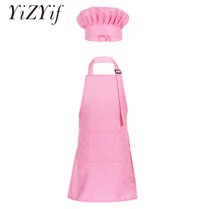 Unisex Kids Adjustable Apron And Chef Hat Set Kitchen Cooking Uniform Baking Painting Training Wear Boys Girls Halloween Costume