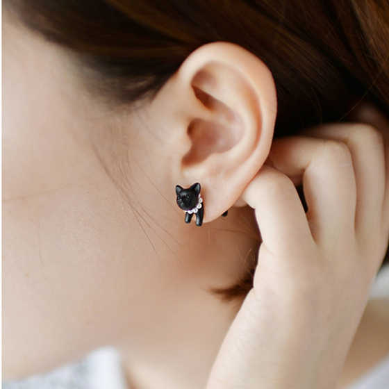 Korean Hot Sale Earrings Bijoux New Fashion Jewelry Womens Accessories Cute Black Cats Bar Earring Piercing Brincos Oorbellen