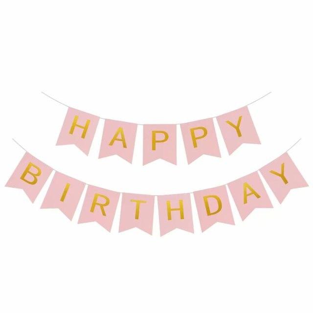 1 ensemble banderole de lettres joyeux anniversaire | Ballons or Rose, décorations de réception-cadeau pour bébé, fête danniversaire, fournitures de cadeaux pour fête pour garçons et filles