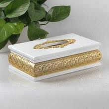 New high grade silver gold hollow wood tissue box silver plated tissue box napkin box alloy suction box