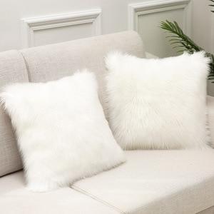 Sholisa пушистая меховая наволочка для подушки, одноцветная наволочка Cojines, наволочка для дивана 45*45 см
