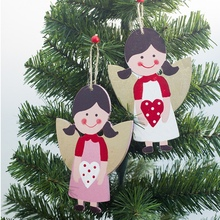 2019Festival Ornament Christmas Tree Decorations Red Angel Painted Wooden Pendant Cute Cartoon Hanging