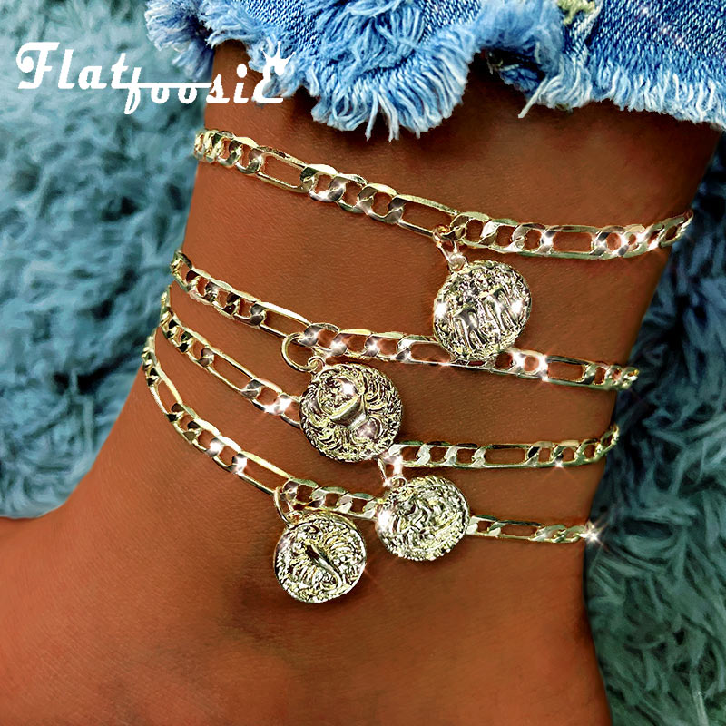 Flatfoosie 2Pcs/Set Fashion 12 Constellations Anklets For Women Simple Gold Color Coin Anklet Boho Summer Beach Foot Jewelry