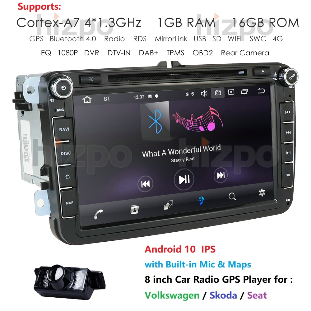 2 Din 4G Android 10 <font><b>Car</b></font> Radio Multimedia For VW/Volkswagen/POLO/Golf/Skoda/Seat/Leon/PASSAT B6 Auto GPS <font><b>Cam</b></font> Nav <font><b>USB</b></font> <font><b>DVR</b></font> IPS OBD2 image