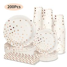200Pcs Paper Tableware Cake Polka Dot Plate Cup Set Disposable Dinnerware Festival Accessories