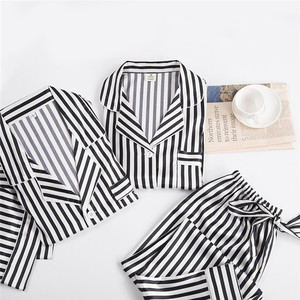 Image 4 - Black white stripes pajama sets women long sleeve casual sleepwear fashion women pyjamas autumn homewear hot sale 2019