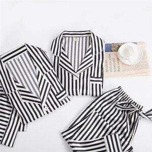 Image 4 - 블랙 화이트 줄무늬 잠옷 세트 여성 긴 소매 캐주얼 잠옷 패션 여성 잠옷 가을 homewear 뜨거운 판매 2019
