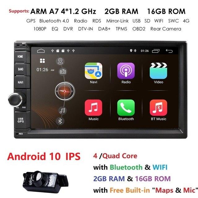 Navegador GPS multimedia con pantalla de 7 pulgadas y radio, autorradio universal sin DVD para coche con 2GB de RAM y 16GB de ROM, procesador Quad Core, Android 10, 4G, Wi Fi, 2DIN, reproductor 1080P, DVR, DAB+ y TPMS