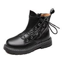 Сапоги из воловьей кожи для мальчиков и девочек; Детские короткие ботинки из натуральной кожи; Сезон осень зима; Теплые тонкие ботинки; Детская кожаная обувь
