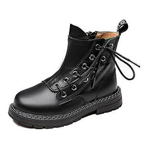 Image 1 - 첫 번째 레이어 소 가죽 소년 소녀 부츠 정품 가죽 어린이 짧은 부츠 가을 겨울 따뜻한 단일 부츠 어린이 가죽 신발