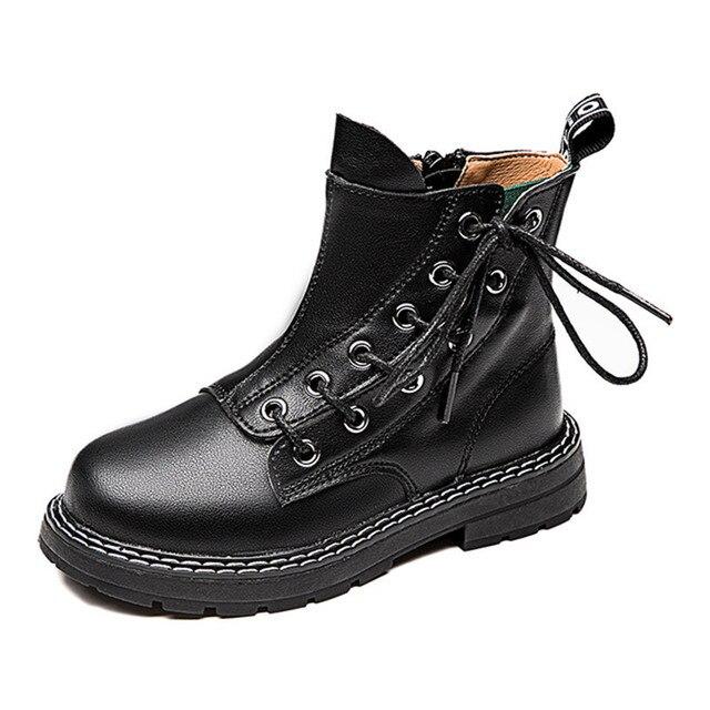 첫 번째 레이어 소 가죽 소년 소녀 부츠 정품 가죽 어린이 짧은 부츠 가을 겨울 따뜻한 단일 부츠 어린이 가죽 신발