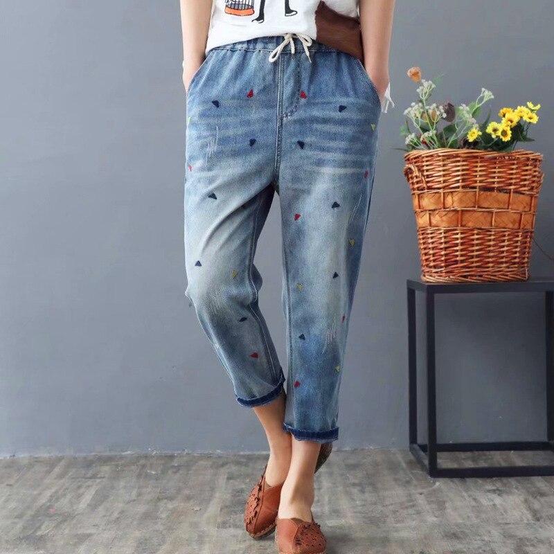 Summer Autumn Women Jeans Fashion Vintage Embroidery Casual Loose Denim Harem Pants Jean Femme Plus Size S-3XL