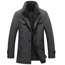 Outwear New Winter Wool Coat Slim Fit Jackets Mens Casual Warm Outerwear Jacket and coat Men Pea Coat Size M-5XL Wool coat Black цены онлайн