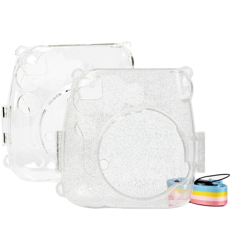 Transparent Camera Case Crystal Clear Bag Compatible for Fujifilm Instax Mini 9 Mini 8  Mini 8 Instant Film Camera with Strap