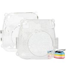 Transparent Camera Case, Crystal Clear Bag, Compatible for Fujifilm Instax Mini 9/Mini 8+/Mini 8 Instant Film Camera with Strap