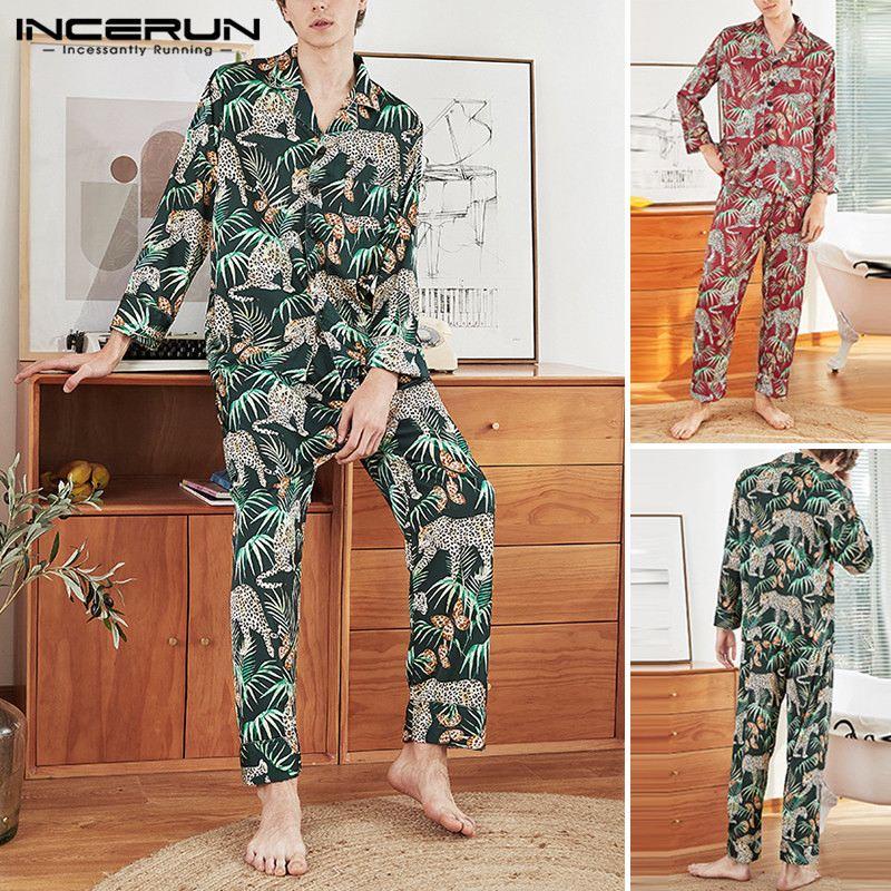 INCERUN Men Sleepwear Sets Printed Long Sleeve Tops & Pants Fashion Casual Loose Homewear 2 Pieces Mens Pajamas Sets Plus Size