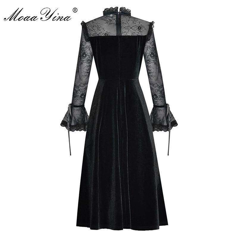 Image 4 - MoaaYina Fashion Designer Runway dress Spring Summer Womens  Dress Lace Long sleeve Patchwork Velvet DressesDresses